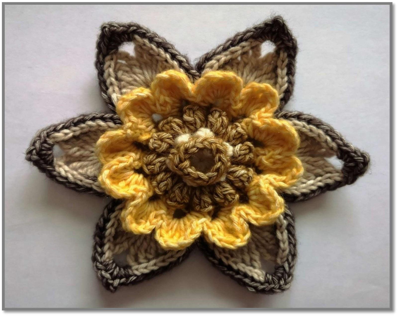 Мотив цветка крючком схема с описанием