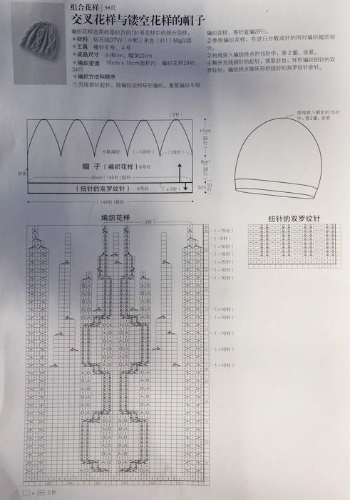 Шапка с японским ораном схема с описанием