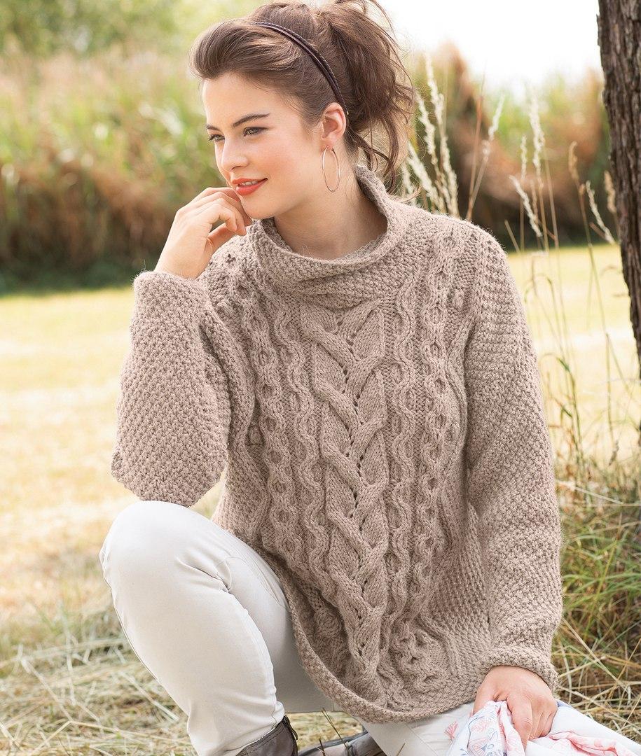 свитер оверсайз с косами