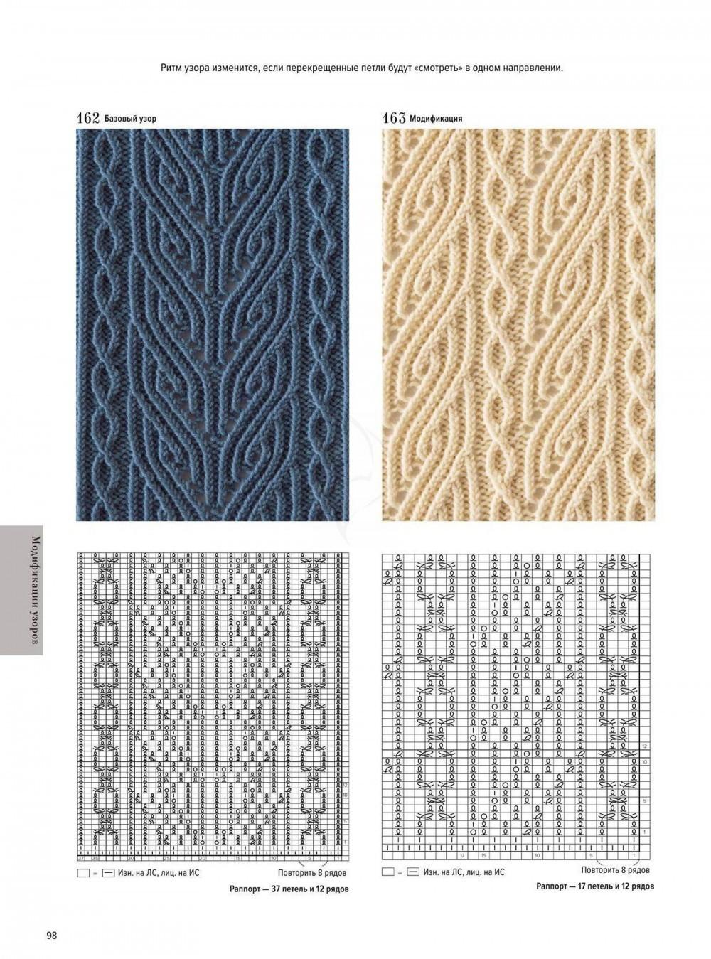 вязание узоров спицами схемы с описанием