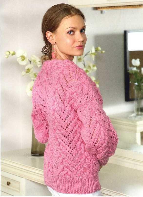 Женский ажурный свитер спицами схема