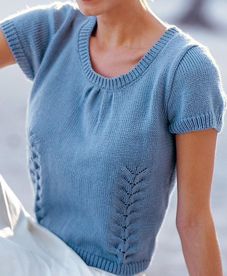 Пуловер с коротким рукавом спицами женский